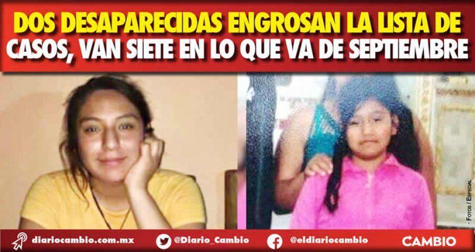 Dos desaparecidas engrosan la lista de casos, van siete en lo que va de septiembre