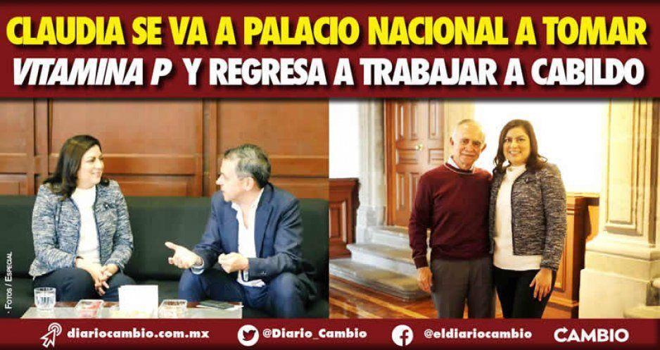 Claudia se va a Palacio Nacional a tomar vitamina P y regresa a trabajar a Cabildo