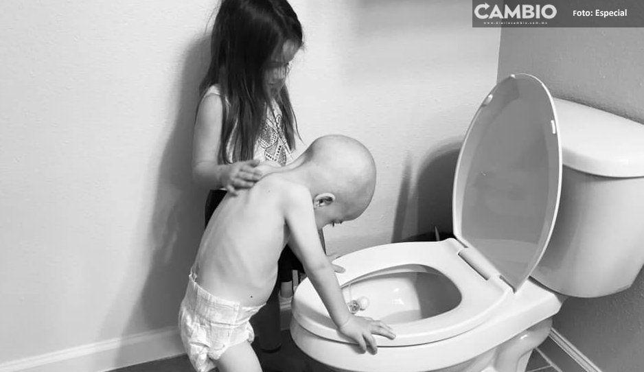 Hermanita de 5 años cuida a su hermano enfermo de cáncer, se vuelve viral
