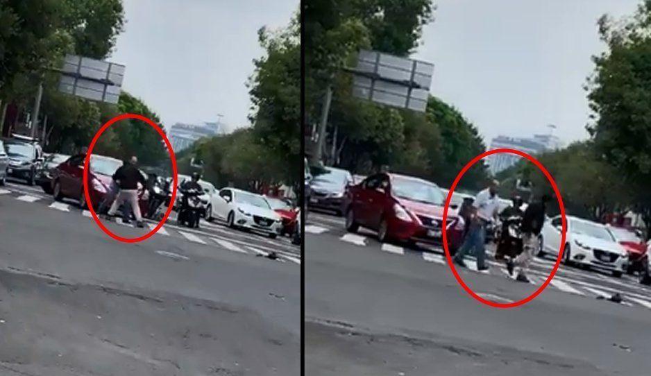 VIDEO: Chofer de Uber pide permiso a usuario de la app para agarrarse a golpes con un motociclista