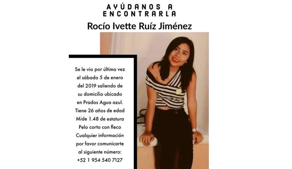 Ayuda a encontrar a Rocío Ivette, desapareció desde el 5 de enero en Prados Agua Azul