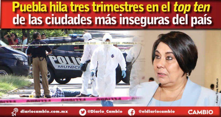 Con Lourdes Rosales Puebla hila 3 trimestres en el Top Ten de ciudades mas inseguras