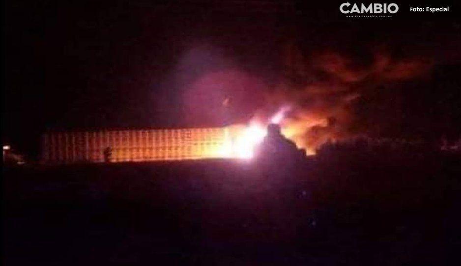 ¡Que pasados! Tras balacera, incendian tráiler en la Puebla- Orizaba cargado de ganado