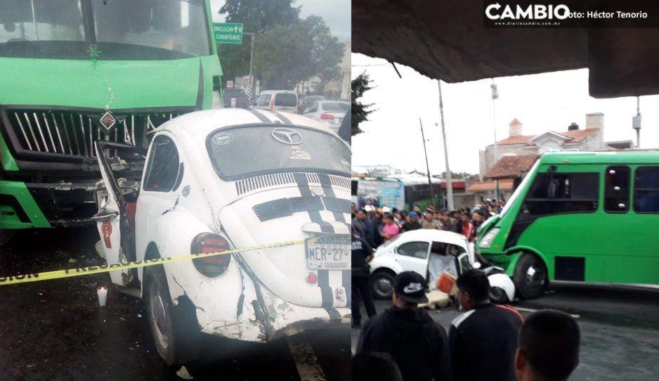 Choque mortal: Vochito se estampa de frente contra Pistache en la México-Puebla (FOTOS)
