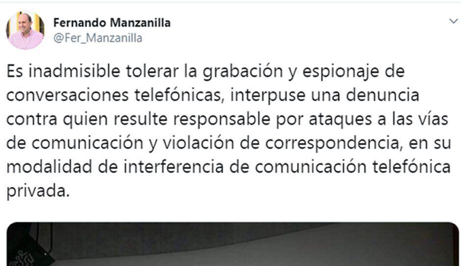 Manzanilla denuncia ante la Fiscalía espionaje en su contra