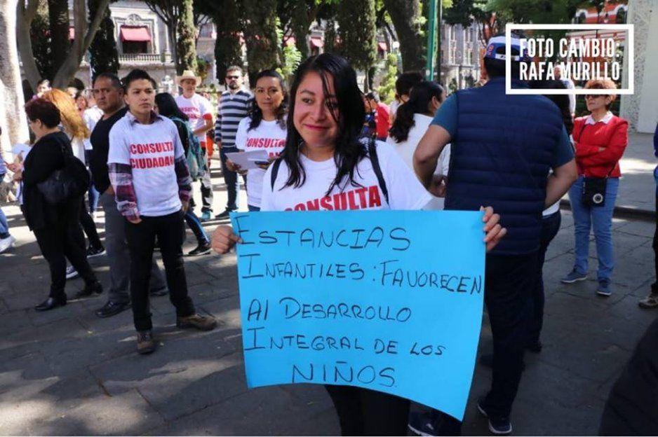 Estancias infantiles en Puebla hacen consulta ciudadana para evitar que AMLO retire subsidio a su programa (VIDEO)