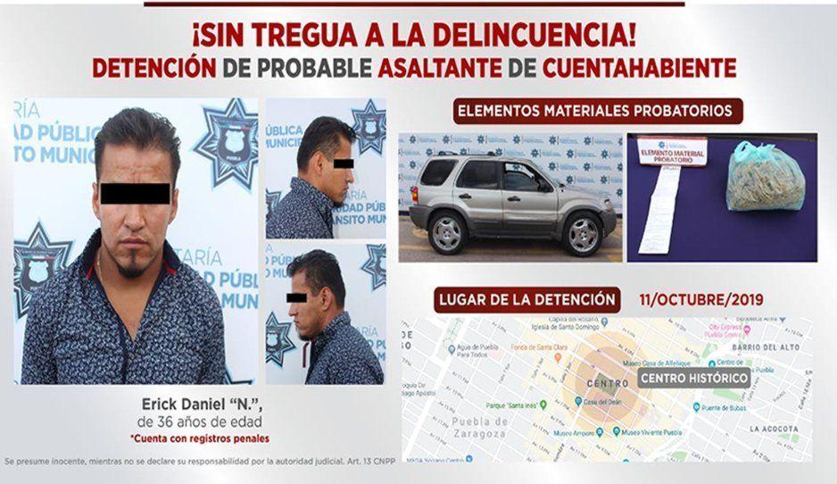 Cae asaltante tras robo de 36 mil pesos a cuentahabiente en Castillotla