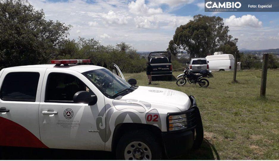 Protección Civil de Texmelucan labora en rescate de cuerpo abandonado en barranca