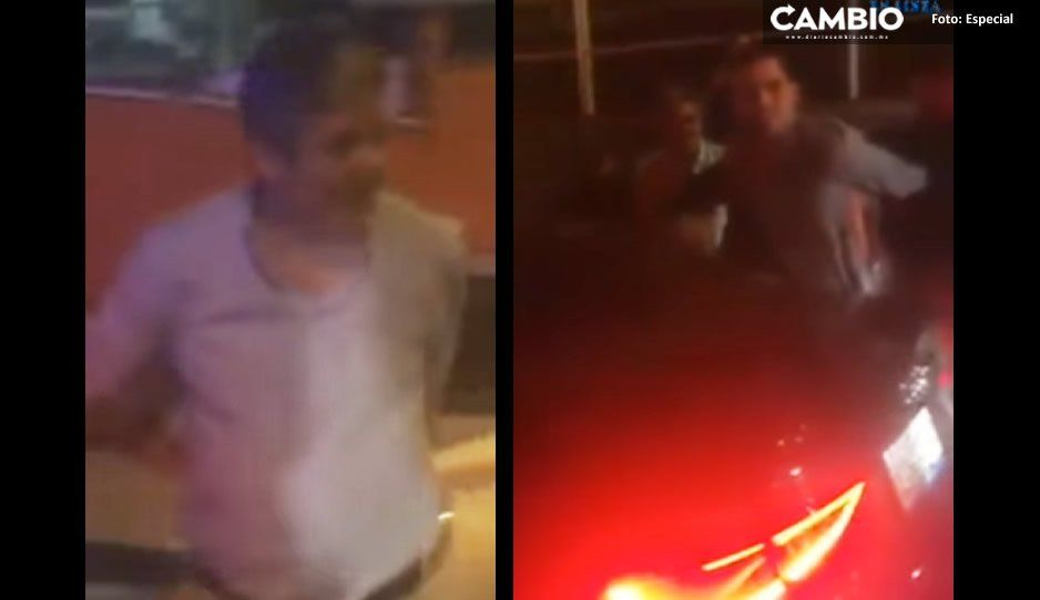 Borrachos teziutecos arman trifulca por no querer pagar 20 de estacionamiento en Plaza Cristal (VIDEO)