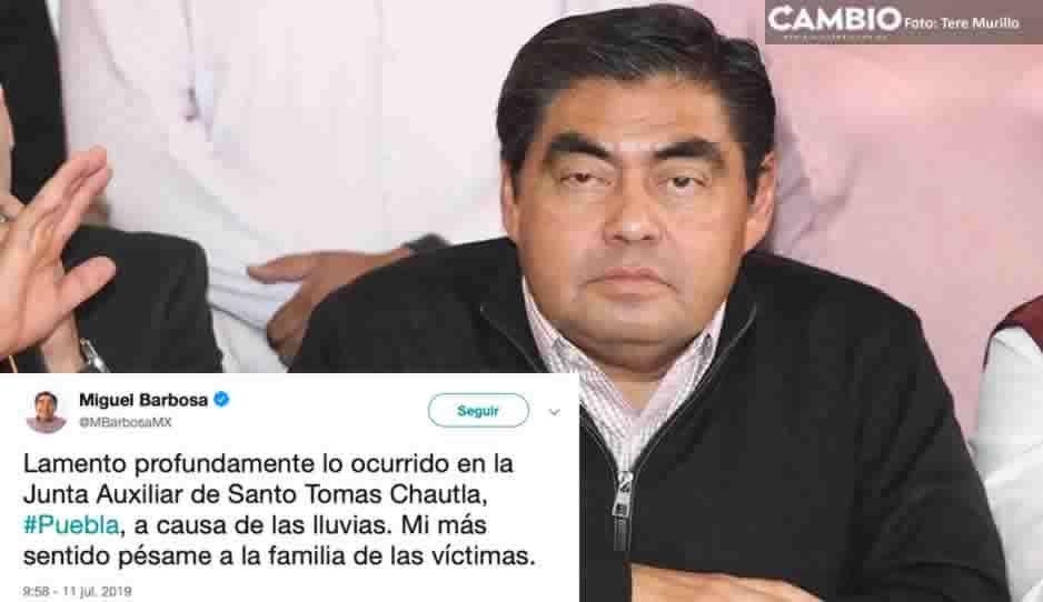 Barbosa da el pésame a las víctimas de Santo Tomas Chautla