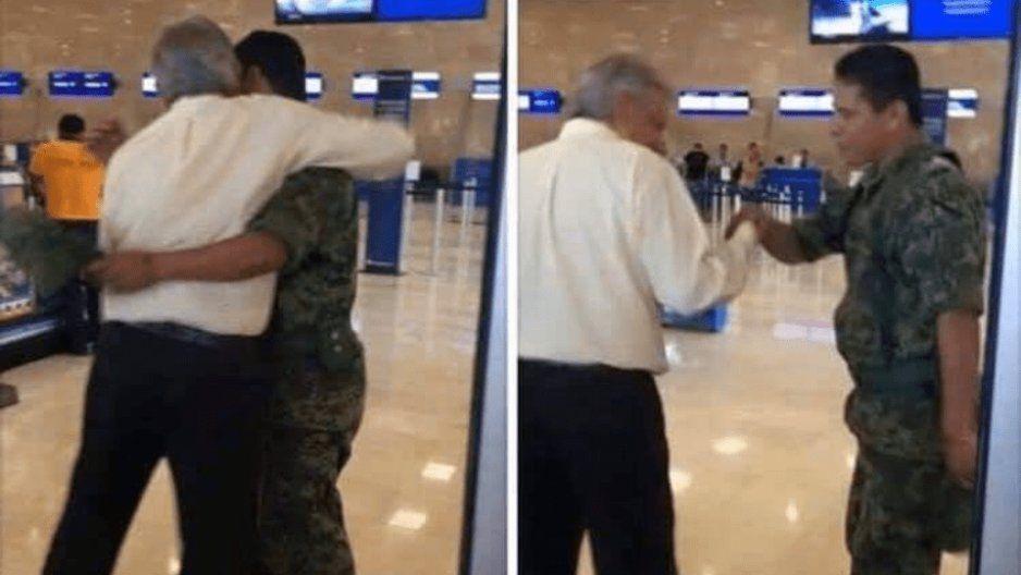 AMLO abraza a un soldado al verlo en aeropuerto
