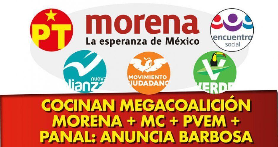 Cocinan megacoalición Morena + MC + PVEM + Panal anuncia Barbosa (VIDEO)