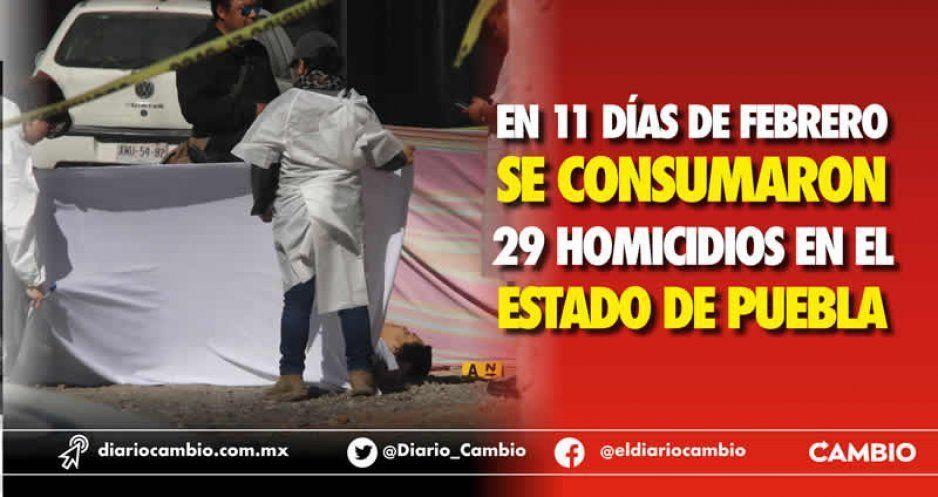 En 11 días de febrero se consumaron 29 homicidios en el estado de Puebla