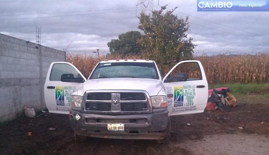Ejército mexicano asegura pipa huachigasera en Tlahuapan