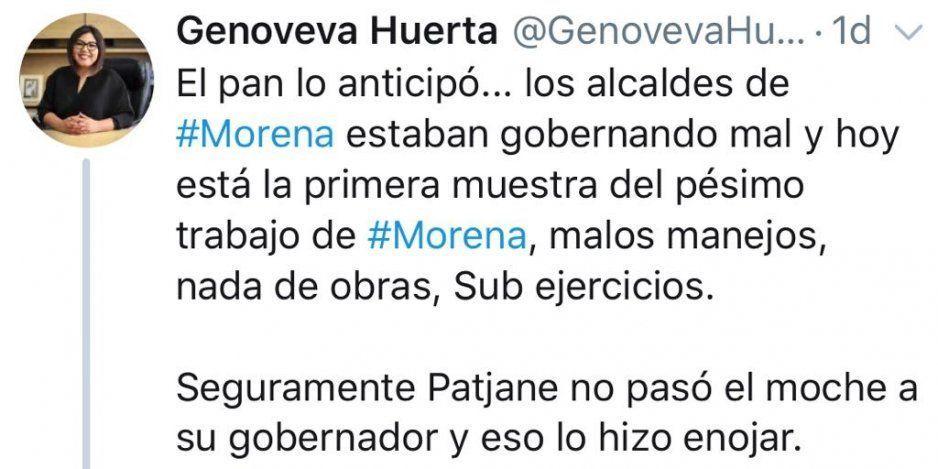 Biestro y Nay arremeten vs Genoveva tras asegurar que detuvieron a Patjane por no pasar el moche morenista