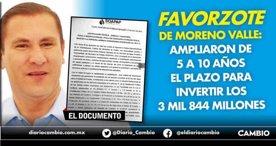 Favorzote de Moreno Valle: ampliaron de 5 a 10 años el plazo para invertir los 3 mil 844 millones