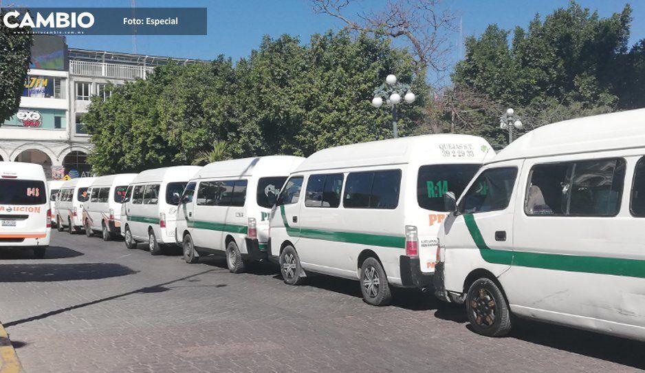 Choferes de transporte público de Tehuacán ganan una miseria