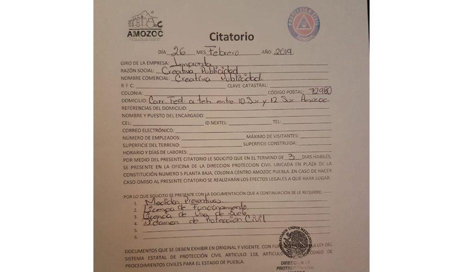 Personal de Protección Civil de Amozoc usurpa funciones para intimidar establecimientos