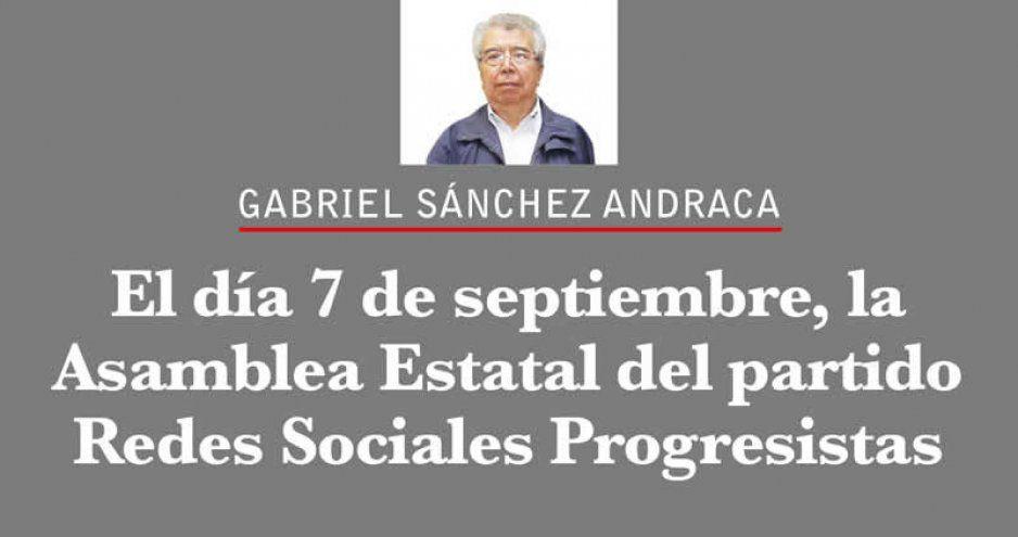 El día 7 de septiembre, la Asamblea Estatal del partido Redes Sociales Progresistas