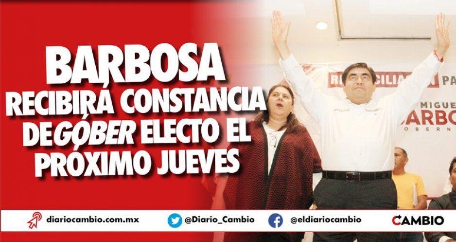 Barbosa recibirá constancia de gobernador electo el próximo jueves 13 de junio