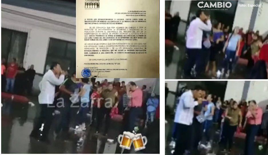 Alcalde de Chiautla rompe ley seca, toma cervezas en pleno baile y ahora le dicen Juanito Traguitos
