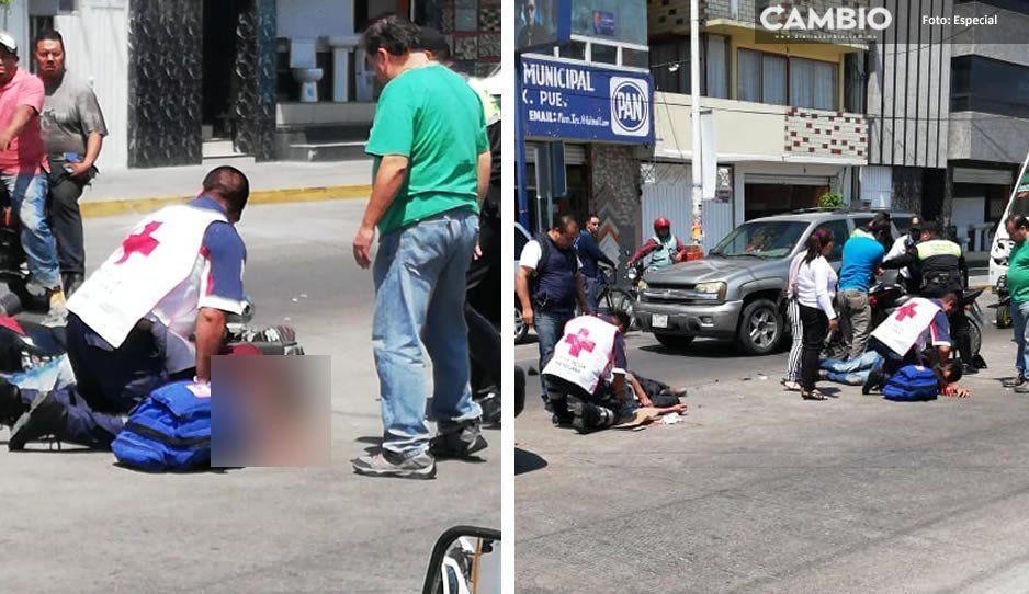 Motociclista termina lesionado tras impactarse contra una camioneta en Texmelucan