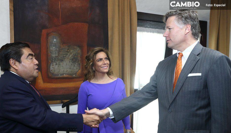 Barbosa afirma que en Puebla hay estabilidad en reunión con embajador de Estados Unidos