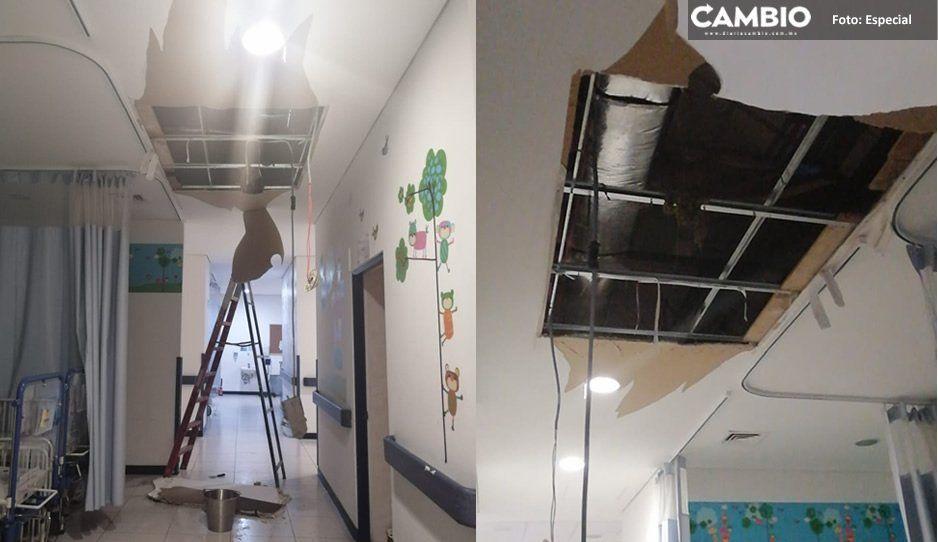 Fuga de agua colapsa techo de hospital Gonzalo Río Arronte en Atlixco