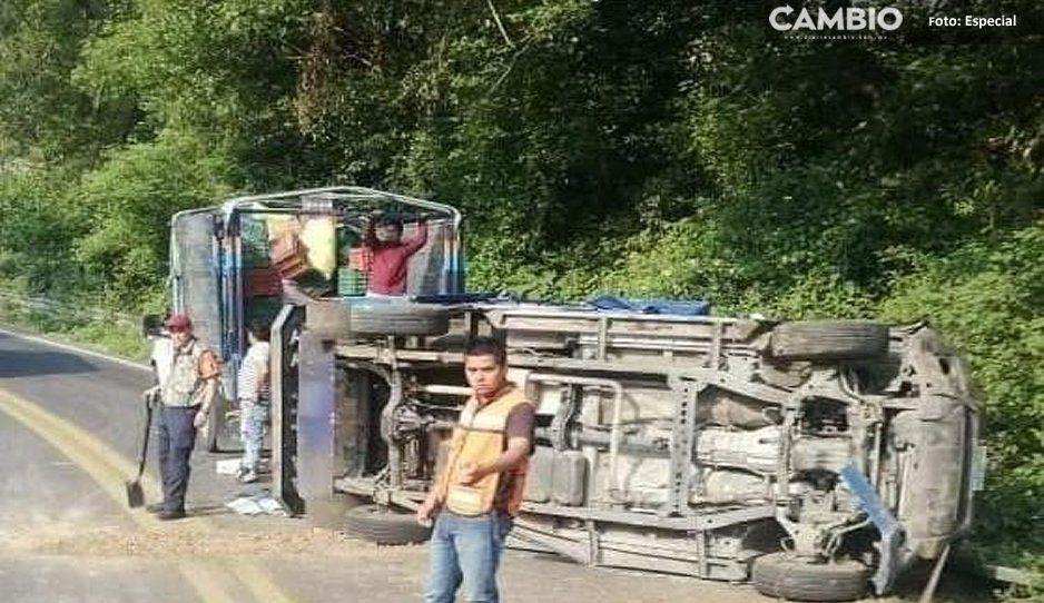 Un lesionado deja volcadura en la Amozoc-Nautla en Tlatlauquitepec