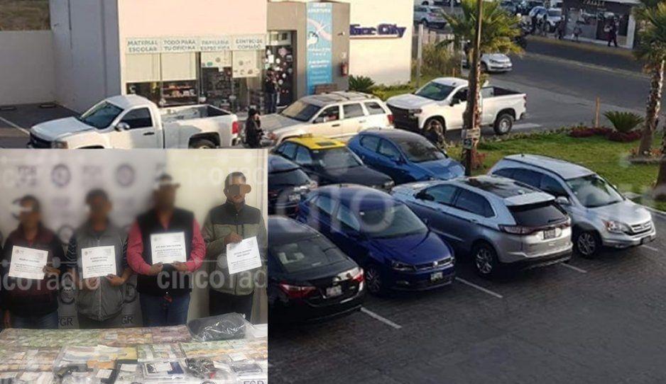 Detienen a cuatro ex militares con armas de fuego y cheques en blanco ya firmados en zona de Angelópolis