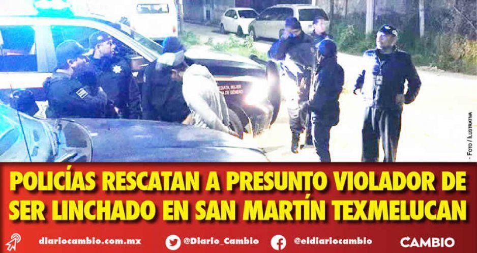 Policías rescatan a presunto violador de  ser linchado en San Martín Texmelucan