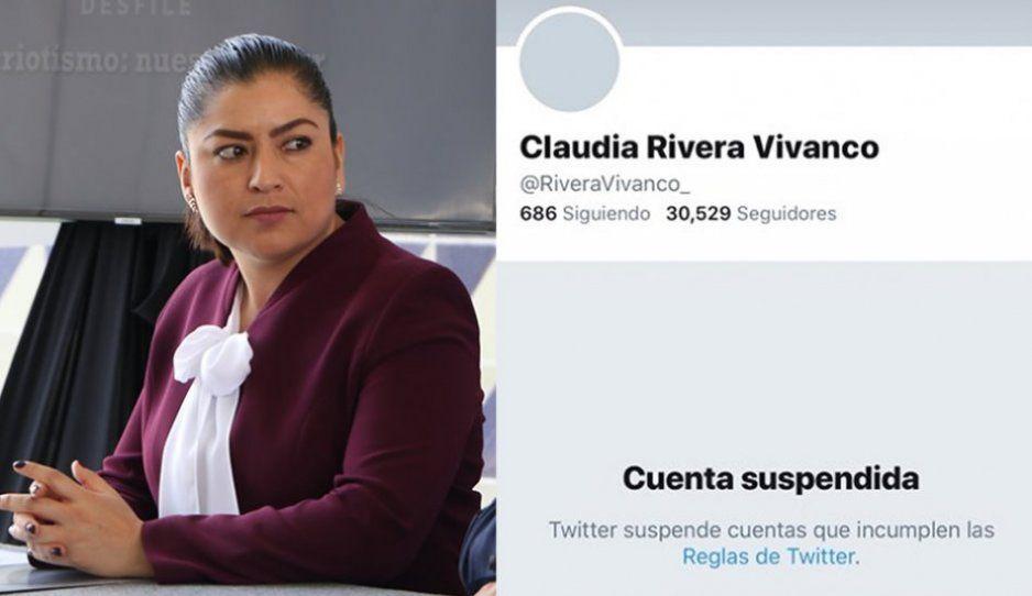 Lleva más de 24 horas suspendida la cuenta de Twitter de Claudia Rivera