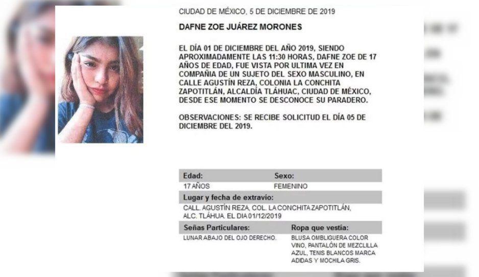 Alerta Amber para encontrar a la menor Dafne Zoe Juárez en Tláhuac