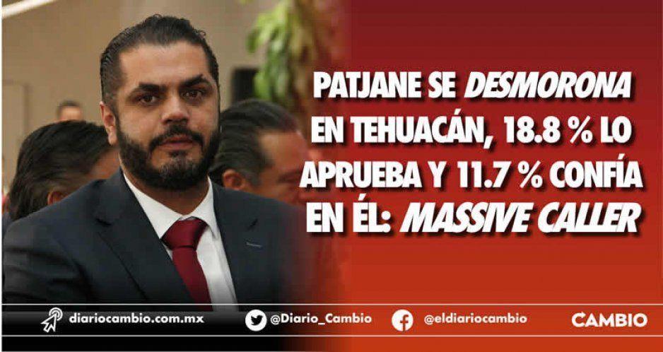 Patjane se desmorona en Tehuacán, 18.8 % lo aprueba y 11.7 % confía en él: Massive Caller