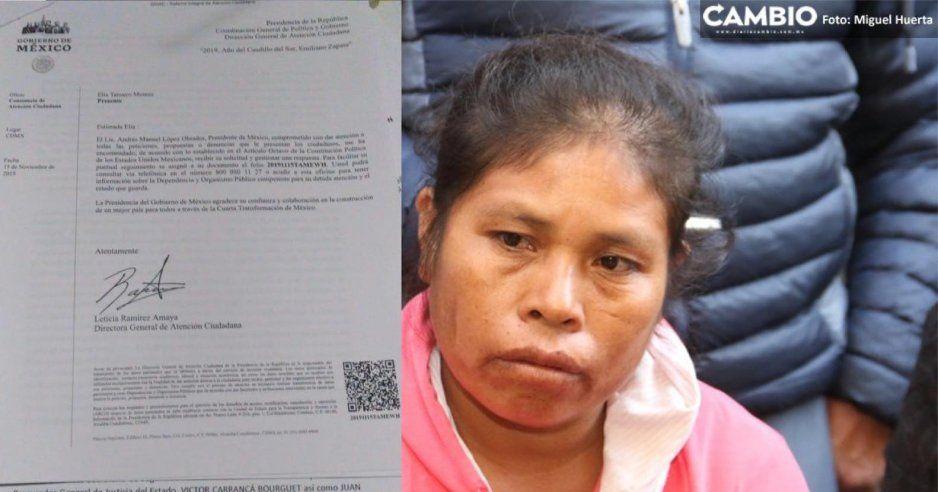 Elia Tamayo presenta oficio a AMLO para reabrir caso Chalchihuapan