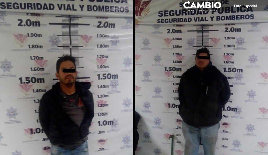 Policía municipal de Cuautlancingo asegura dos huachigaseros y una pipa