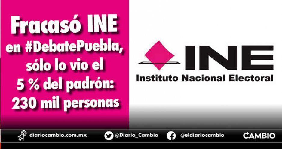 Fracasó INE en #DebatePuebla, sólo lo vio el 5 % del padrón: 230 mil personas