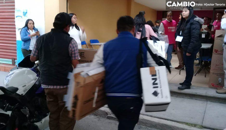 Llegan los primeros paquetes electorales al Consejo Distrital en Texmelucan