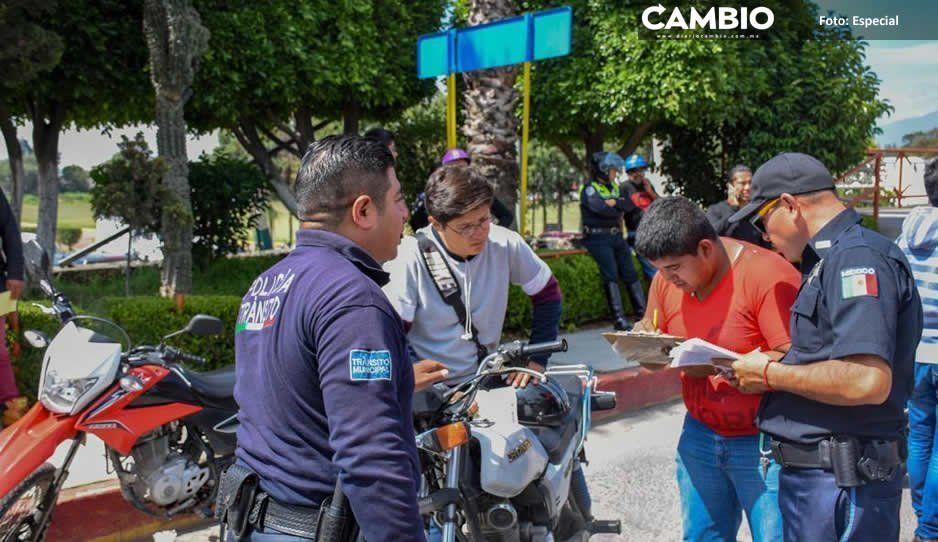 Ayuntamiento de Texmelucan continúa campaña por seguridad de motociclistas