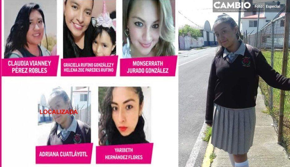 Localizan sana y salva a Adriana Cuatlayotl de 14 años; continúan desaparecidas 5 ¡Ayuda a localizarlas!