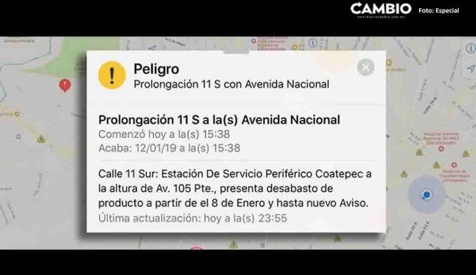 Google Maps lanza alerta sobre el desabasto de gasolina en Puebla; hay más de 30 estaciones sin combustible