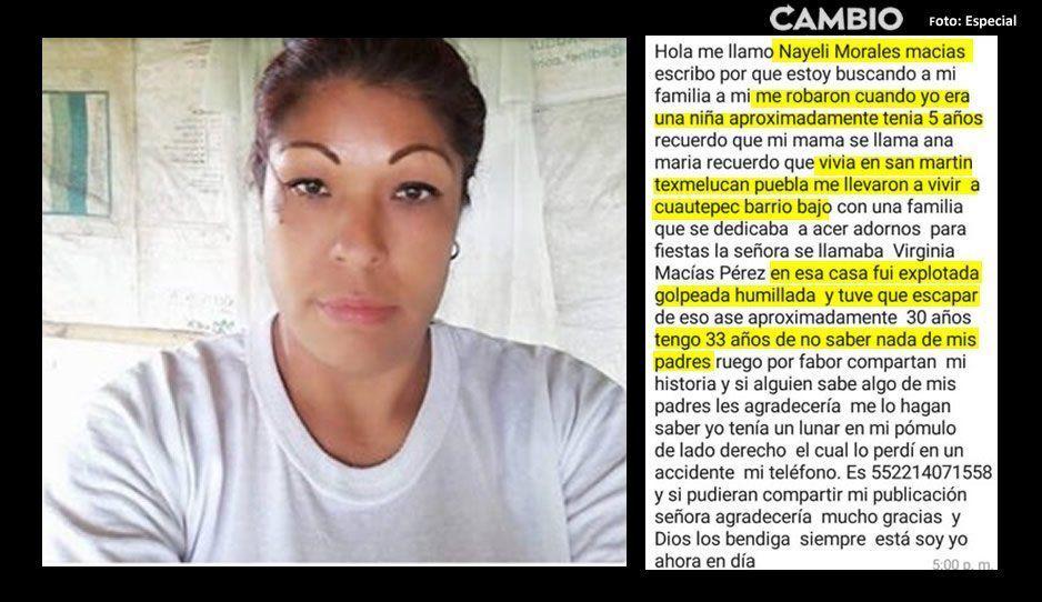 La secuestraron de niña en Texmelucan y 30 años después busca a su familia original ¡Ayuda a Nayeli a encontrarlos!