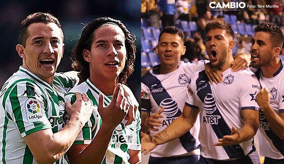 Betis de Guardado y Laínez jugarán vs Club Puebla en el Cuauhtémoc