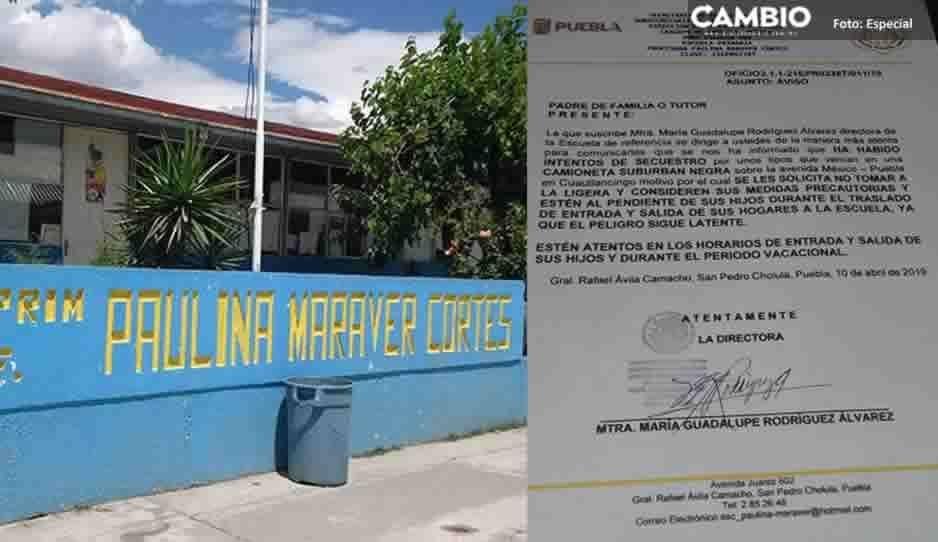 Primaria de San Pedro Cholula exhorta a padres cuidar a sus hijos ante el incremento de secuestros