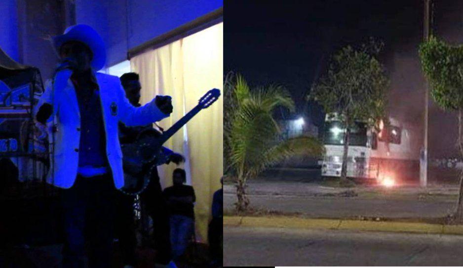 Queman autobús de norteño involucrado en masacre en Minatitlán