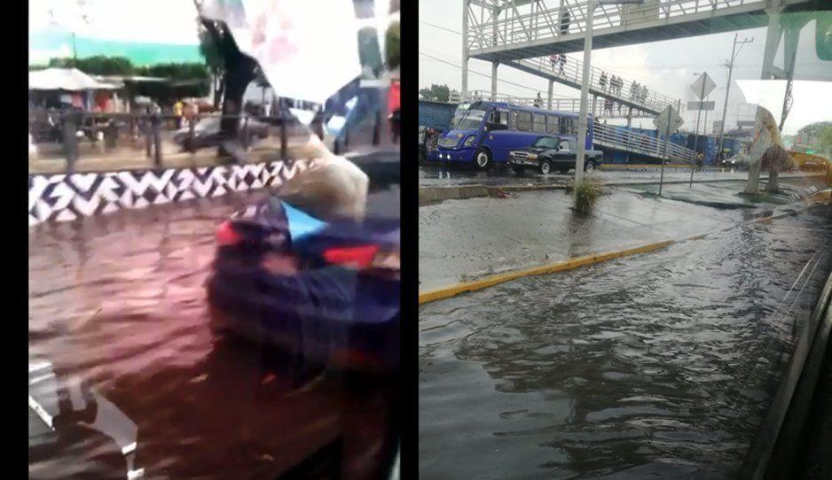 Así quedaron de inundadas las calles cerca del Mercado Hidalgo tras fuerte lluvia (VIDEO)