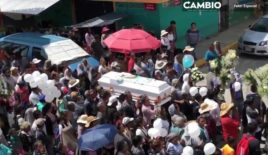 Dan último adiós a Brayan, niño de 9 años asesinado por bala perdida en Ocoyucan