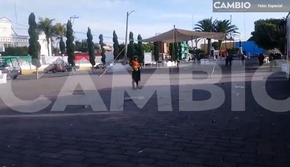Lanzan explosivo en Ayuntamiento de Tochtepec