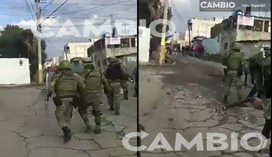 Huachicoleros y militares se enfrentan en Texmelucan: Ejército fue recibido a pedradas (VIDEO)