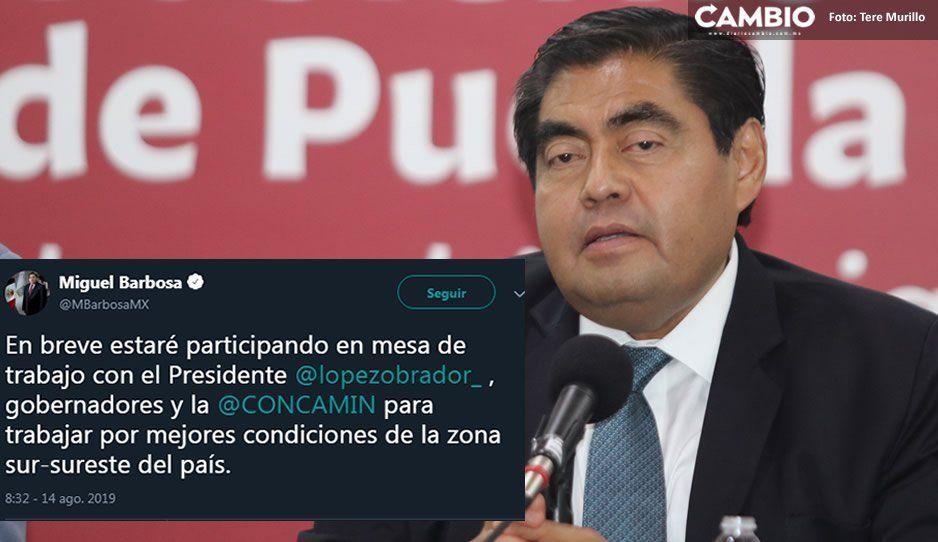 Barbosa participará en reunión de trabajo con AMLO y la Concamin en Oaxaca